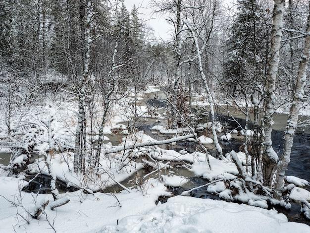 Il fiume di montagna invernale in carelia scorre attraverso la foresta. il potere della natura selvaggia e maestosa.
