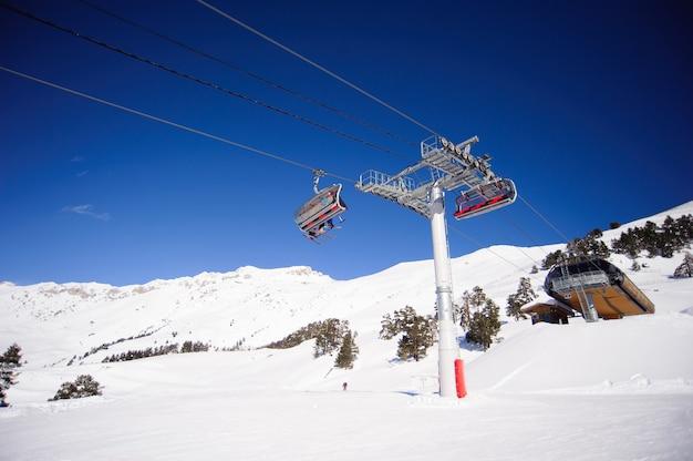 Panorama delle montagne invernali con piste da sci e impianti di risalita.