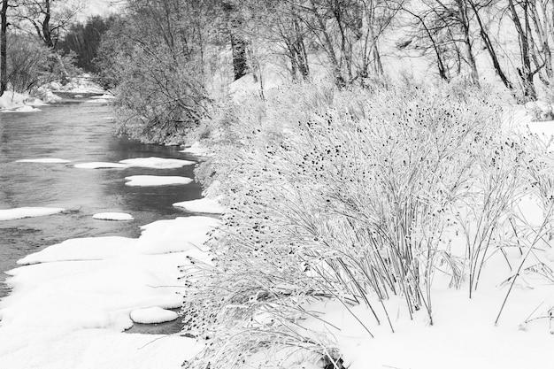 Fiume d'inverno nel freddo pungente