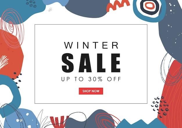 Banner web saldi invernali sfondo astratto disegnato a mano
