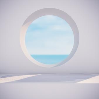 Scena invernale con forme geometriche, cornice circolare. vista sul mare. 3d render sfondo.