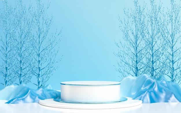 Palco del podio di lusso della stagione invernale per il rendering 3d della presentazione del prodotto