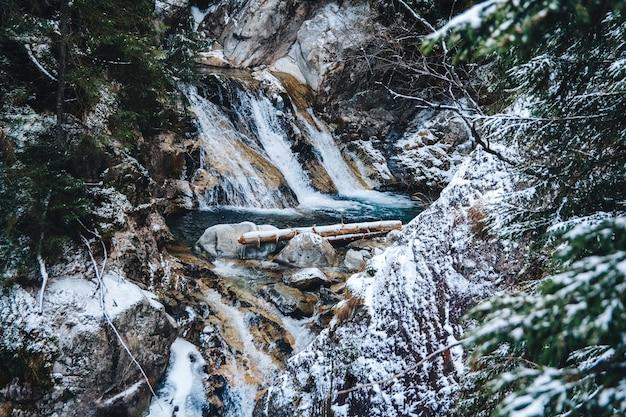 Cascate del torrente alimentate a primavera invernale in inverno.