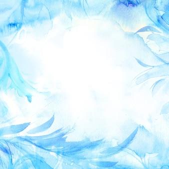 Priorità bassa dell'acquerello di inverno. cornice congelata dipinta a mano con copyspace bianco. trama di gelo.