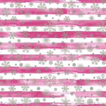 Modello senza cuciture a strisce disegnato a mano dell'acquerello di inverno stampa con fiocchi di neve di bellezza d'argento. sfondo bianco con strisce acquerello rosa. incartamento di regalo. felice anno nuovo e buon natale concetto.