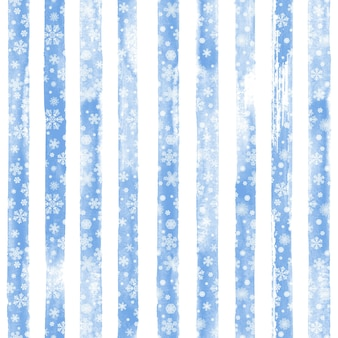 Stampa senza cuciture a strisce disegnata a mano dell'acquerello di inverno con i fiocchi di neve bianchi di bellezza. sfondo bianco con strisce acquerello blu. incartamento di regalo. felice anno nuovo e buon natale concetto.