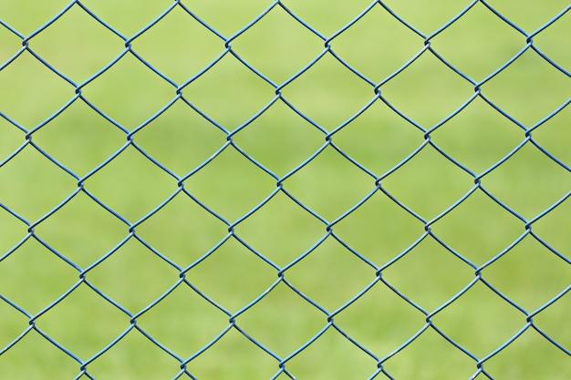 Rete metallica o gabbia d'acciaio di prato verde nel giardino.
