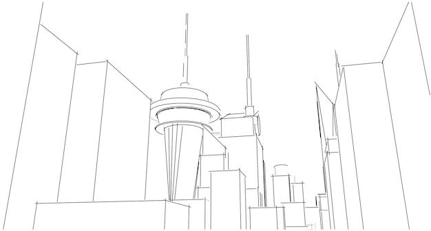Wireframe, panorama, architettura astratta, illustrazione 3d