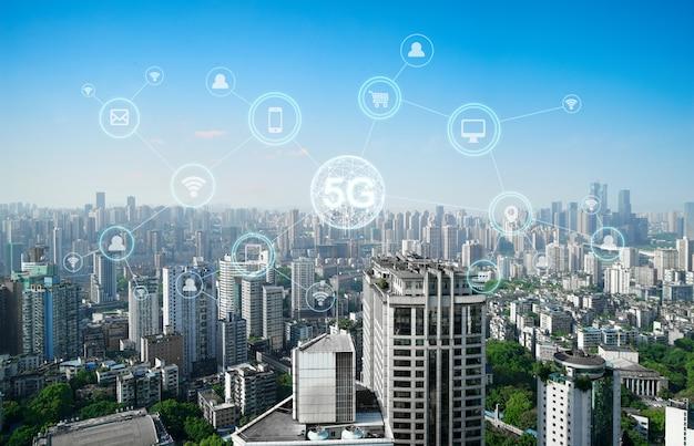Concetto di rete di comunicazione wireless Foto Premium