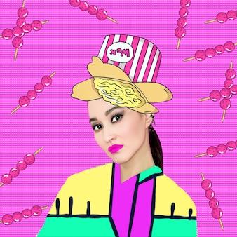 Wok fashion girl collage di arte contemporanea. divertente progetto di fast food