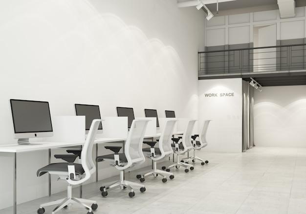 Ufficio moderno dello spazio di lavoro in camera con tono bianco e grigio su pavimento di cemento e condotto dell'aria in rendering 3d in stile loft