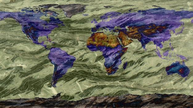 Mappa del mondo realizzata da uno sfondo di superficie di struttura in pietra di granito duro