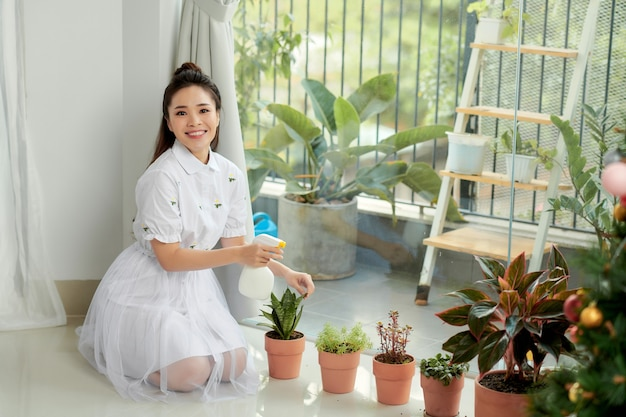 Donna che si prende cura di pianta della casa.