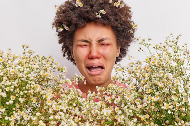 Donna piange dalla disperazione soffre di sintomi spiacevoli ha occhi rossi e gonfi circondati da camomilla allergia trigger esprime emozioni negative pose indoor