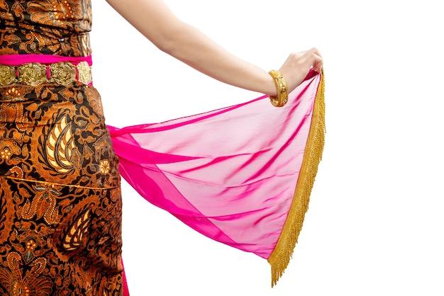 Donna che balla ballo tradizionale giavanese isolato