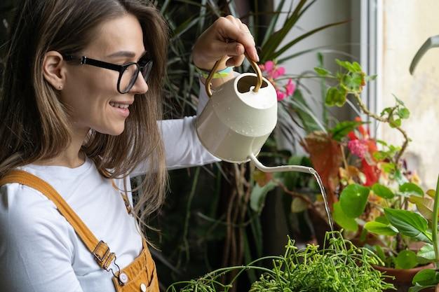 Giardiniere della donna che innaffia la pianta d'appartamento in vaso sul davanzale della finestra in serra hobby amore delle piante