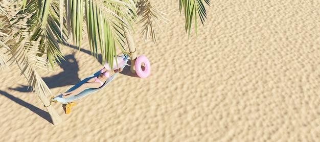 Donna in un'amaca tra due palme sulla spiaggia