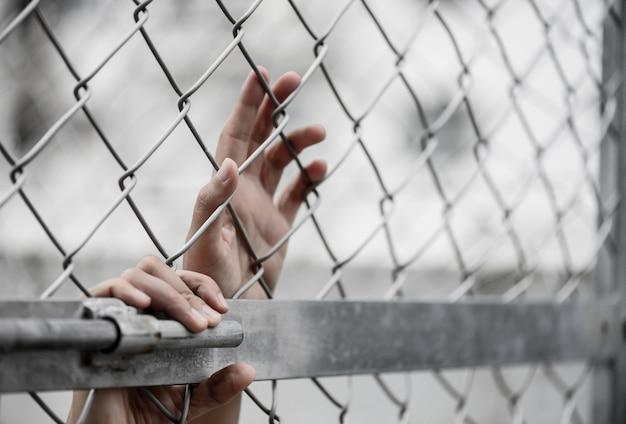 La tenuta della mano della donna sul recinto del collegamento a catena per ricorda il concetto di giorno di diritti umani.