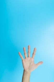La mano della donna mostra 5 dita sulla superficie blu con copyspace