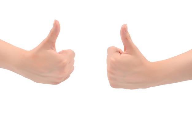 Il simbolo della mano della donna è ok medio isolato su priorità bassa bianca