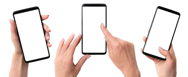 Mani di donna che tengono i telefoni isolati su bianco