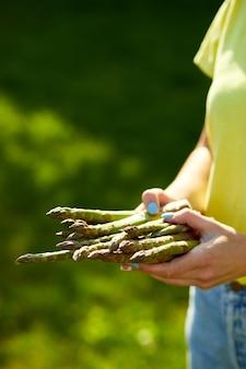 Donna che tiene un mazzo di asparagi verdi nelle sue mani all'aperto, lance di asparagi verdi freschi al sole, copia spazio per il testo. raccolto, pronto da cucinare, dieta vegana sana, cibo locale.