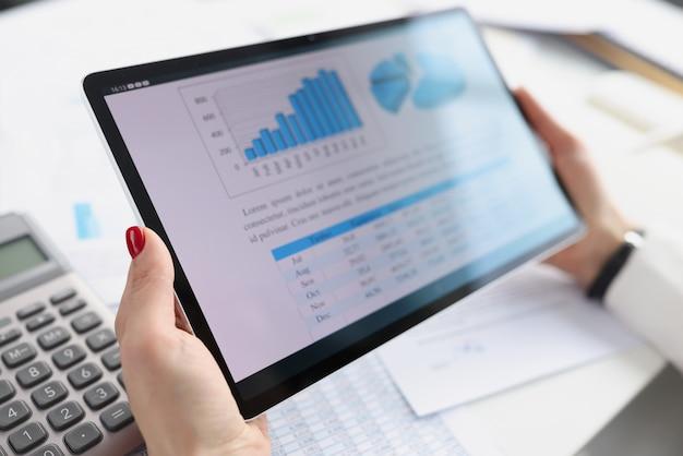 Donna che tiene compressa digitale con i grafici nelle sue mani concetto di strategie aziendali del primo piano