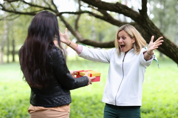 La donna fa il regalo di compleanno ad un amico nell'amicizia femminile del parco e sorprende il concetto