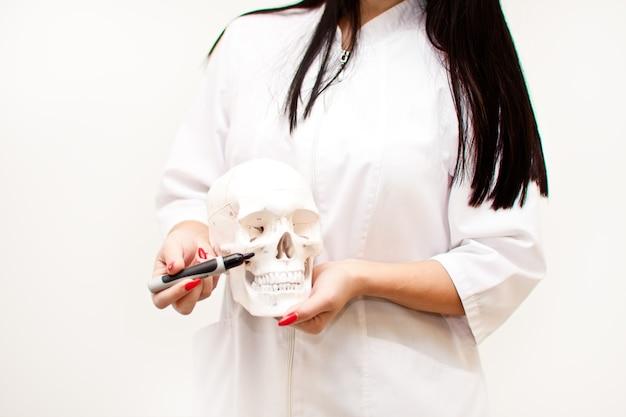 Donna in uniforme medica che tiene un teschio in una mano e mostra con un pennarello su varie parti. antropologia, educazione, scienza, concetto di anatomia.