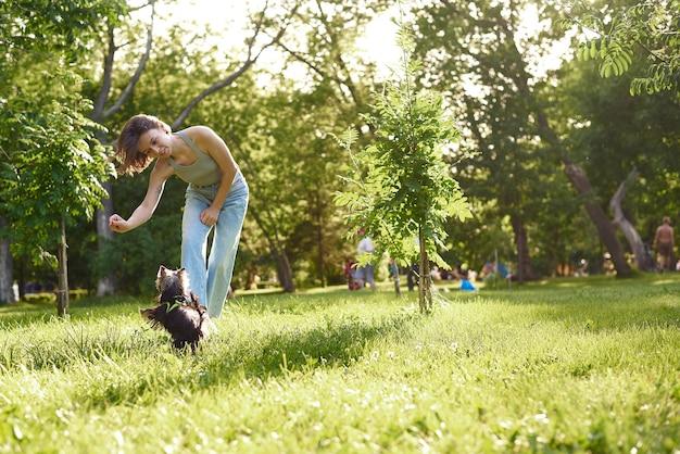 Proprietario della donna con il cane dell'yorkshire terrier che ha divertimento sull'erba. animale domestico del cane del cucciolo che funziona con le donne sul parco all'aperto