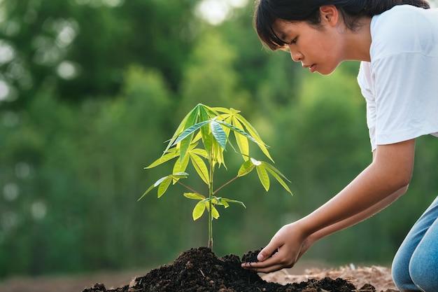 Donna che pianta albero in giardino. concetto di eco
