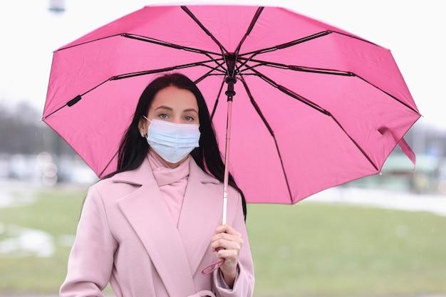 Donna in maschera medica protettiva in piedi sotto l'ombrello