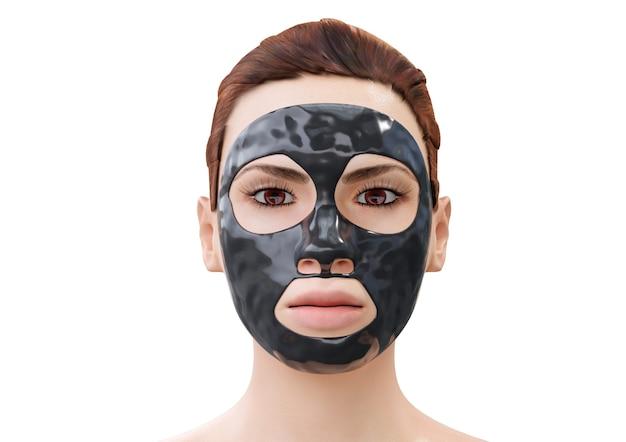 Donna che si rilassa con una maschera facciale al carbone. rendering 3d