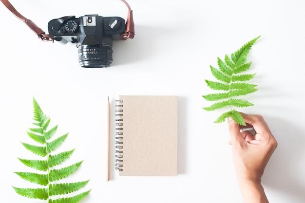 Mano della donna con foglia di felce, macchina fotografica, notebook e matita, lay flat isolato su sfondo bianco