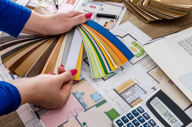 Mani della donna con campioni di colore, pianta della casa, laptop e calcolatrice