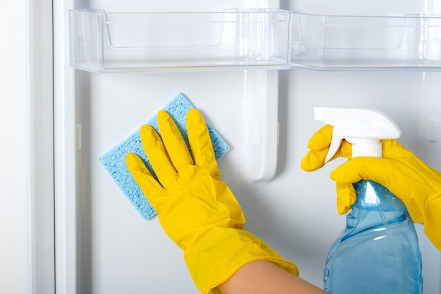 Le mani di una donna in un guanto protettivo di gomma gialla e una spugna blu lava, pulisce i ripiani del frigorifero. servizio di pulizia, casalinga, lavori domestici di routine. spray detergente per vetri e vetri