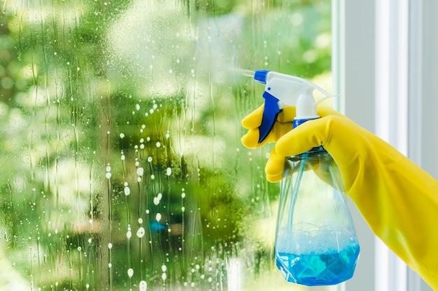 Donna che spruzza e pulisce il vetro