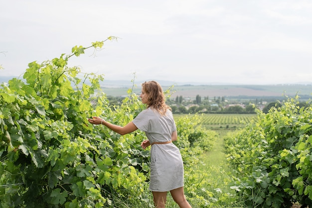 Donna in abito estivo che cammina attraverso il vigneto annusando l'uva