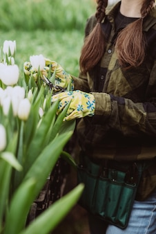 Una donna si prende cura dei fiori dei tulipani in giardino. primavera e estate. giardiniere donna felice con fiori