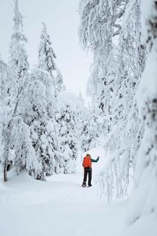 Trekking donna attraverso la neve in lapponia, finlandia