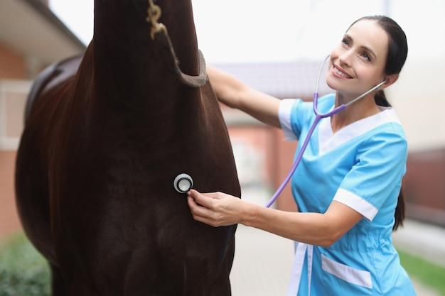 Il veterinario della donna ascolta lo stetoscopio del cavallo che fornisce cure mediche al concetto dei cavalli