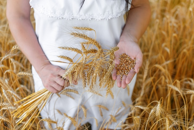 La donna che indossa un abito bianco tiene le spighe di grano in una mano e i chicchi di grano nell'altro concetto di raccolto