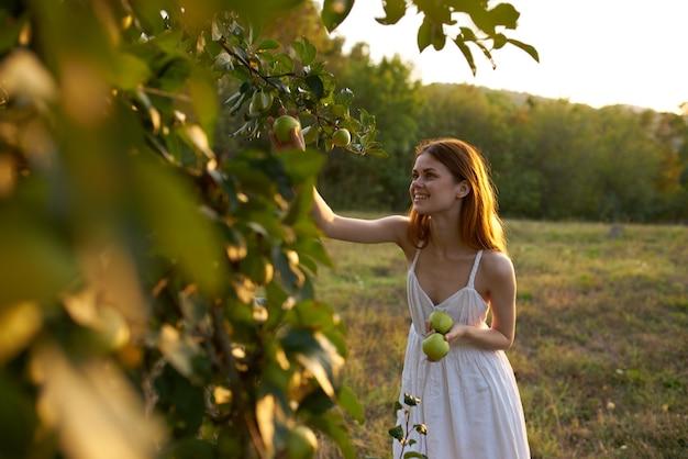 Donna in abito bianco con mele vicino alla natura dell'albero da frutto