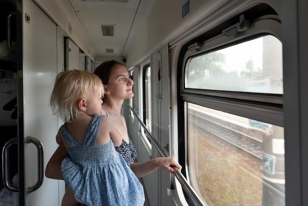 La donna con il bambino viaggia in treno. la famiglia viaggia in treno e guarda attraverso il finestrino. viaggio in ferrovia.