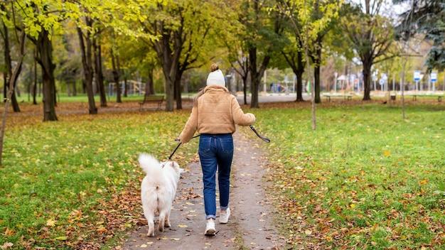 Donna con il suo cane in autunno in un parco. la donna sta camminando e tenendo il guinzaglio. foglie ingiallite a terra