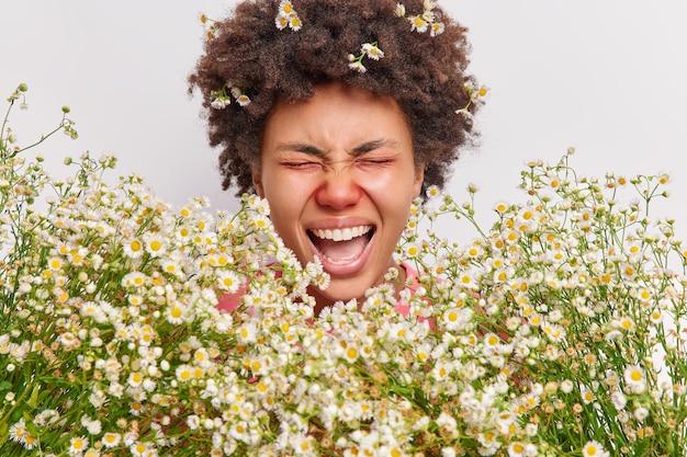 Donna urla forte tiene la bocca aperta occhi chiusi ha la pelle arrossata a causa di allergia alla camomilla si sente male soffre di rinite isolato su bianco