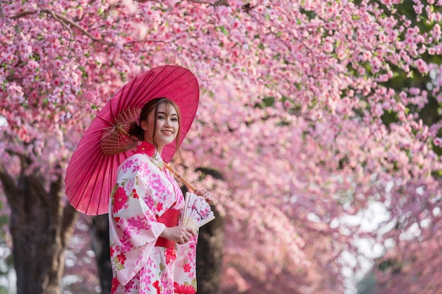 Donna in yukata (abito kimono) con ombrello e ventaglio pieghevole e guardando sakura fiore o fiore di ciliegio in fiore nel giardino