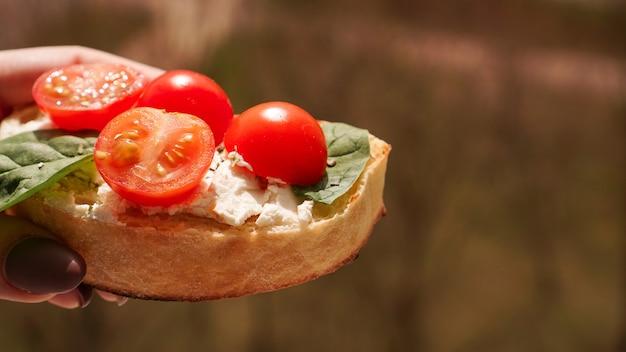 Mano di donna con antipasto di vino italiano bruschetta pomodorini