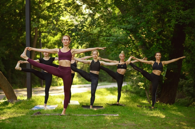 Donne che fanno esercizio di stretching, formazione yoga di gruppo sull'erba.