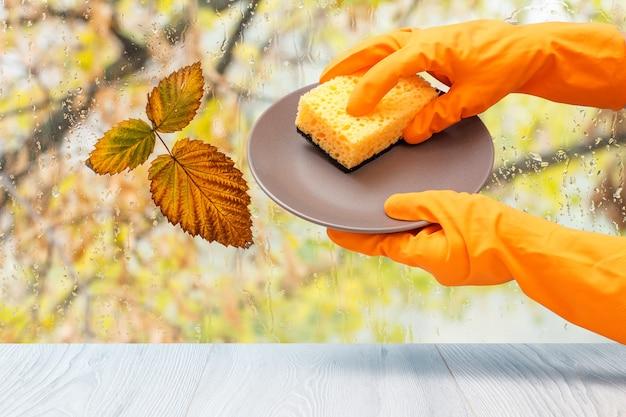 Mani da donna in guanto protettivo arancione con piastra e spugna davanti alla finestra con gocce d'acqua e foglie autunnali. concetto di lavaggio e pulizia.